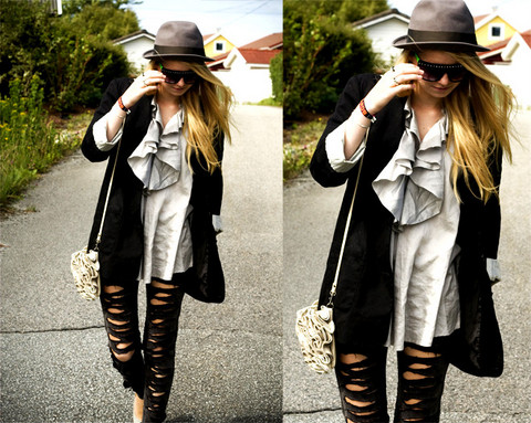 Kristin W. - Asos Gray Top, Topshop Leather Rose Bag, Bikbok Selfmade Ripped Leggings - You must be some kind of Superstar