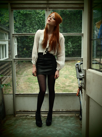 Gracie Fox - Topshop Dress/Blouse, H&M Leather Skirt, Asos Wedges - I would go out tonight. But I haven't got a stitch to wear.