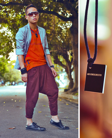 Dennis Robles - Ann Demeulemeester Book Necklace, Swear London Black Pointed Leather Sneakers, Zara Cotton Harem, H&M Pinstriped Blazer, Galliano Orange Newspaper Shirt, Gucci Grey Aviators - Look # 278