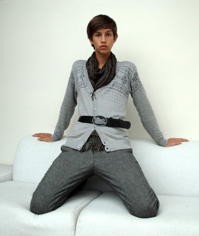 Eike Mikal - Poco Loco Cardigan, Scotch Pants, Levi's® Belt, Random Scarf - Lack of Colour
