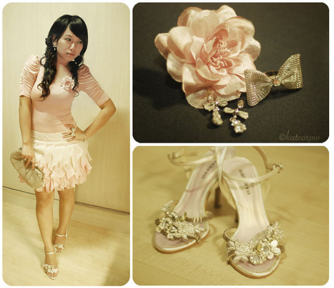 Kat Carpio - Mum's Closet Diamond Drops With Ribbons, Forever 21 Ribbon Ring, Salabianca Beaded Heels, Forever 21 Ruffled Sleeve Top, Forever 21 Monochromatic Petal Skirt, Accessorize Clutch Bag With Pearl Lock, Accessorize Pink Rosette Clip Used As A Brooch - Roses and Wedding Belles