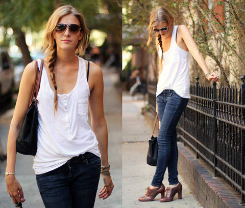 Leslie K - Tom Ford Aviators, H&M White Tank, Citizens Of Humanity Skinny Jeans, Sam Edelman Brown Oxford Heels - West village