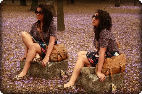 Sooz M - Pull & Bear Flowered Dress, Roxy Shoes, Oysho Sunglasses, Bershka Brown Crossbody Bag - Second Best