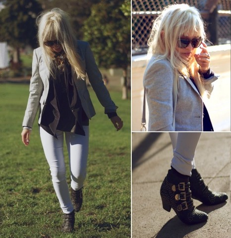 Chanel C. - Thrift Blazer, Open Ceremony Silk Blazer, Jeffrey Campbell Booties - The Park