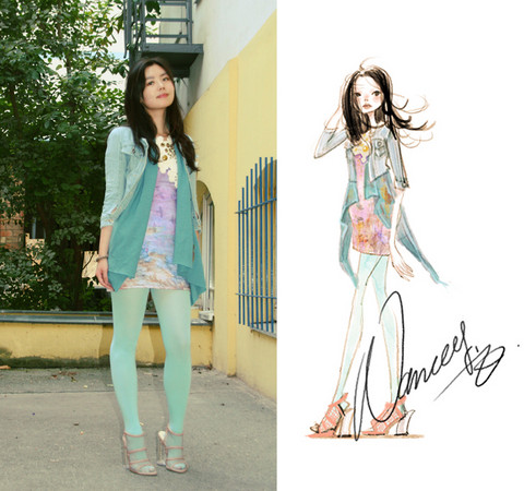 Nancy Zhang - Topshop Dress, Stella Mccartney Heels - Blue birds during dusk.