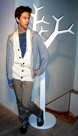 Eike Mikal - Odin Shoes, Bzr Chinos, No Nationality Cardigan, Boss Jacket, Diesel Sweater - Shadows
