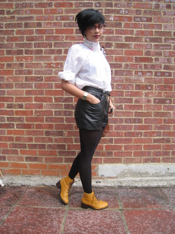 Helina Varma - Vintage Shirt, Vintage Leather Shorts, Office Boots - Colonel Mustard