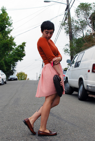 Cali Vintage - Thrifted Vintage Sweater, American Apparel Lace Chiffon Dress, Woven Leather Clutch, Bass Wayfarer Loafers - Orange you glad