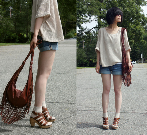 Wolfie Chen - Jack Rabbit Fringe Shoulder Bag, H&M Knitted Top, Target Socks - Knitted, Fringed, Sock-ed~