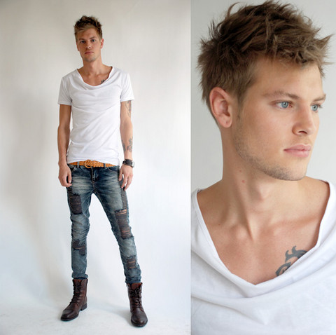 Fredric Johansson - R Sheer White Tee, R Brown Belt, Fuzzy Ripped Jeans, Selected Homme Brown Boots - Focus