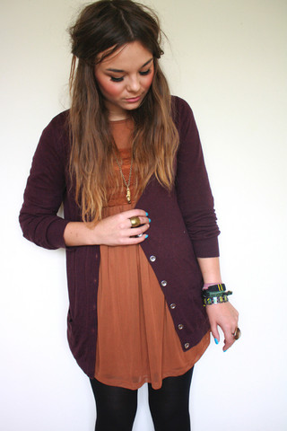 Lily Melrose - Topshop Lace Panel Dress, Primark Long Sleeved Cardigan, Zara Binoculars Necklace - Say it aint so