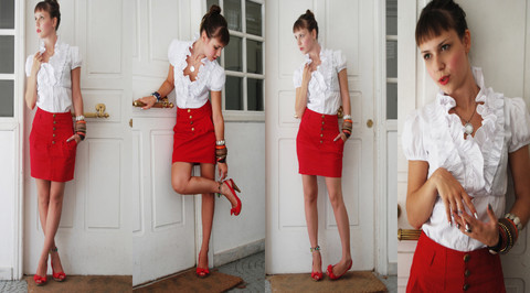 Athina Christina W - Zara White Silken Shirt, Zara Red Skirt, Stradivarious Red High Heels, Bvlgari Silver Jewellery - Combining Pleasure With Passion