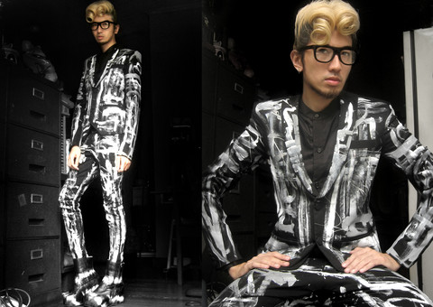 Andre Judd - Protacio Bespoke Hanpainted Suit, Protacio Round Collar Tuxedo Shirt, Andre Judd Tie Dye Wedges, Ac For Fh Black Flat Frames, Jay Wee Rockabilly Hair - Bespoke Graffiti