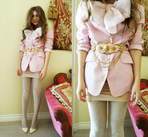 Bebe Zeva - Diy Giant Pink Bow, Escada Oversize Pink Blazer, American Apparel Nude U Neck Dress, Juicy Couture Sparkly Nude Tights, Ralph Lauren Ivory Pumps, Vintage Pink Rosette And Pearl Belt - THE BIG PINK