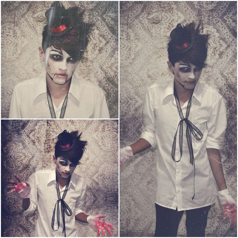 TAto Prado - Made By Myself Mini Top Hat, White Shirt, Bloodie Gloves, Lace Bow, Skinny Black Pants - Who is the dummie? Halloween  look!