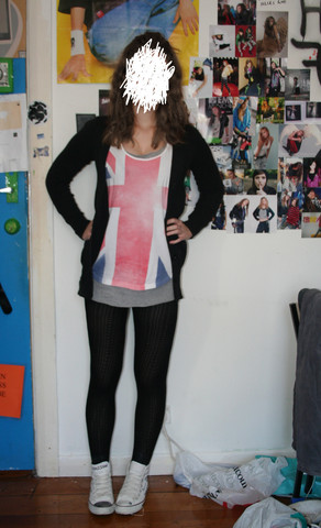 Natascha C - Supré Union Jack Shirt, Long Grey Tank, Tights, Converse Warsaw, Jay Jays Long Cardigan - Cmon kid don't waste my time 080410
