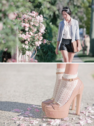 Nicole Warne - Jacket From Japan, Vintage Blouse, Vintage Leather Shorts, Vintage Clutch, Miu Heels - A pocket full of posies.