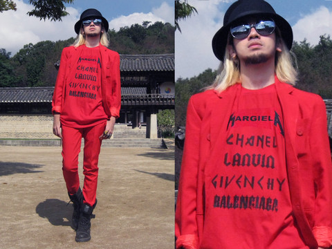 Andre Judd - Proud Race Red Oversized Tee, Protacio Poppy Red Suit And Pants, Vintage Wool Felt Hat, Dr. Martens Bondage Strapped - BIG BRIGHT RED DIVA