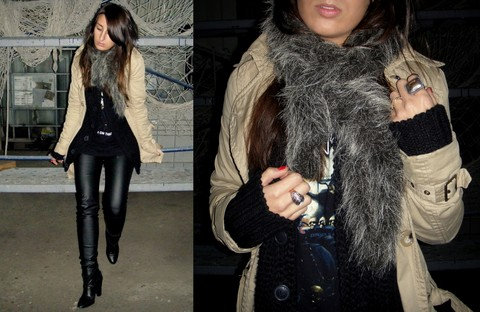 L A - Diy Fur Collar, Stradivarius Trench - ONLY GIRL IN THE WORLD