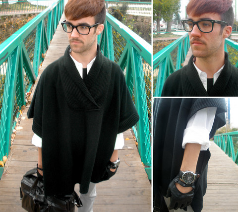 Javier Sendin - H&M Cape, Tex Shirt, Zara Jeans, Pull & Bear Bag, Zara Leather Gloves - Bridge.