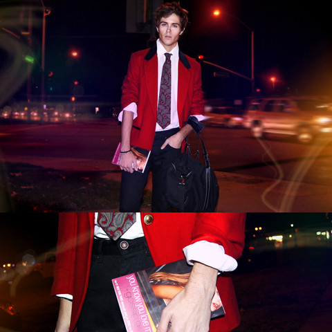 Adam Gallagher - Vintage Red & Black Velvet Detail Blazer., Vintage Paisley Tie, Heritage 1981 Bag, Gossip Girl Book - Xoxo gossip guy