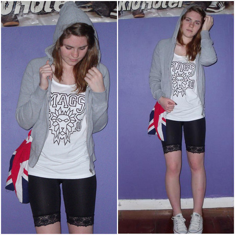 Natascha C - Mags 2010 School Leavers Singlet, H&M Grey Hoodie, H&M Lace Legging Shorts, Converse White, Union Jack Bandana - I realised it was only just a dream