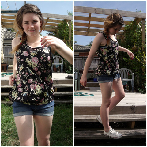 Natascha C - Mom's Wardrobe Floral Shirt, Supré Plain Singlet, Supré Denim Shorts, Converse White - You move so fast, makes me feel lazy