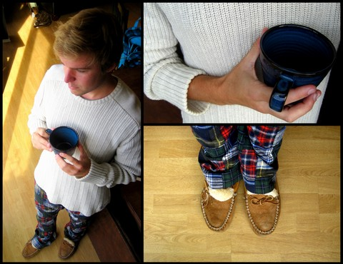 Stefan Fromme - American Eagle Oversize Knit Sweater, Thrifted Plaid Quilted Flannel Pants, Ll Bean Sheepskin Moccasins - ♪Baby, it's cold outside ♫