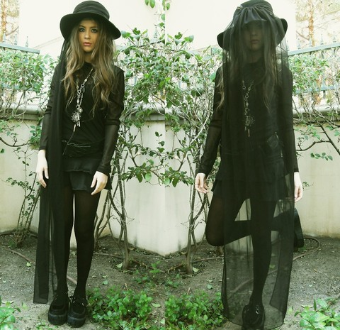 Bebe Zeva - Frank Olive Veiled Hat, Forever 21 Mesh Top, Buffalo Exchange Velvet Creepers - WI†CH WI†CH WI†CH