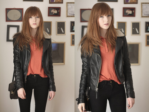 Rebekah D - Topshop Jacket, Topshop Jeans, Charity Shop Top, Vintage Bag - Orange