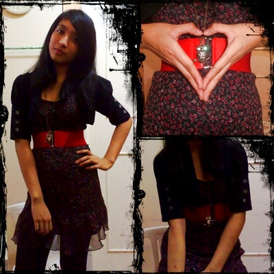 Natalia B - Dress, Hot Red Belt, Eastwood Black Cardigan, Black Leggings, Greenhills Sparkly Owl Necklace - Because its the 16th today.
