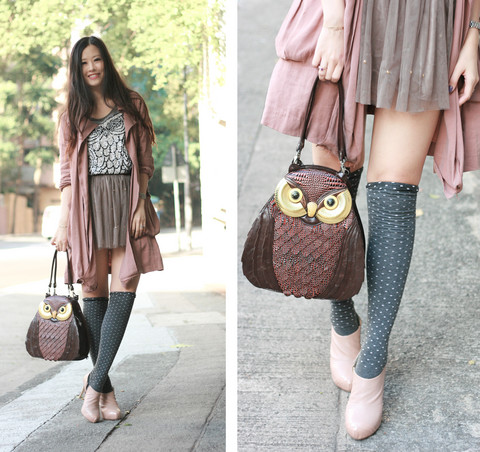 Mayo Wo - 3 Room's Grey Vest With Sequins Owl, Tulle With Studs, Amiya Owl Bag, Shoe Girl Nude Ankle Boots - Hedwig & Pigwidgeon
