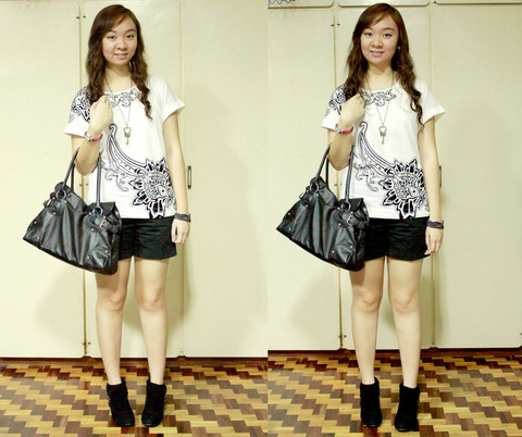 Jean Yu - Mango Oversized Shirt, Céline Boots With Heels, Charles And Keith Bag, Christmas Bazaar Vintage Key Necklace, Zara Shorts, Promod Black Bracelet With Silver Studs - Just Tonight