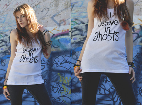 Rose Pendleton - I'm A Jerk Industries I Believe In Ghosts Tank, Anchor Blue Black Skinny Jeans - I believe in ghosts