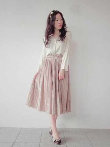 Baby Qi - Button Up Shirt, Pleated Calf Skirt - Nude.