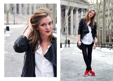 Leslie K - All Saints Leather Jacket, Helmut Lang White Button Down Shirt, All Saints Black Jeans, Gola Red Shoes - Cinna stick