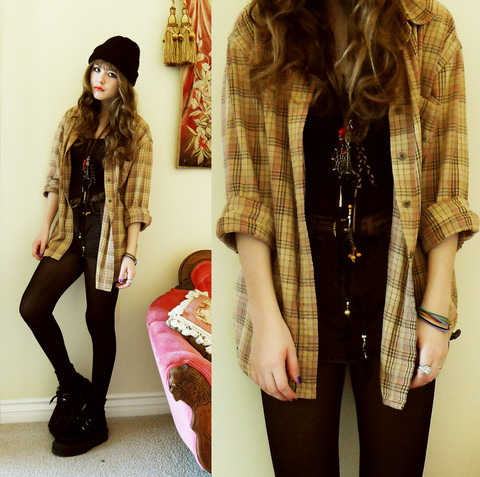 Bebe Zeva - Beanie, Ralph Lauren Plaid Flannel, Classified Velvet Creepers - GOING GRUNGE