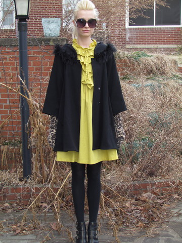 Jennie Vicious - French Connection Uk Black Swing Coat, Urban Outfitters Yellow Frill Dress, Macy's Leopard Gloves, Jessica Simpson Platform Buckle Shoes - Lemon Freeze