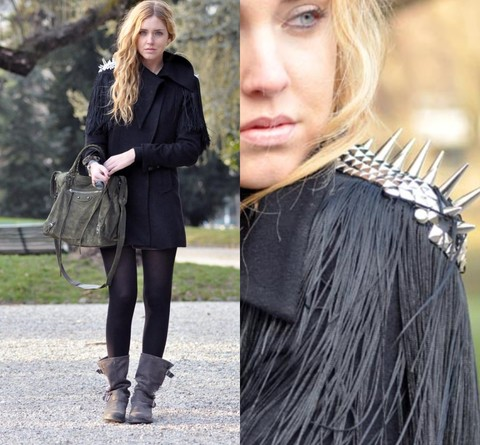 Chiara Ferragni - Balenciaga Suede Bag - Studded shoulder pads on my coat