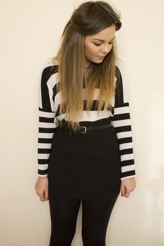 Lily Melrose - H&M Body Con Skirt, H&M Long Sleeved Striped Top, Primark Black Skinny Belt - Jailbait ii