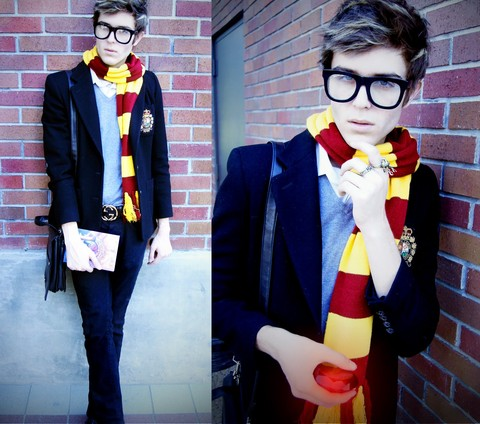 Adam Gallagher - Wide Framed Glasses, My Friend Kirsties! Gryffindor Scarf, Ralph Lauren Crest Blazer, The Sorcerers Stone, H&M Deer/ Owl Rings - The Sorcerers Stone