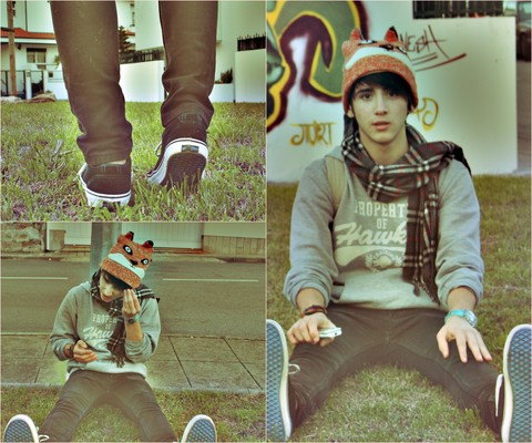 Eduardo Ferreira - Squirrel Beanie, Tiffosy Sweater, Bershka Pants, Vans Vulcanized - Colour matching ? just chill out