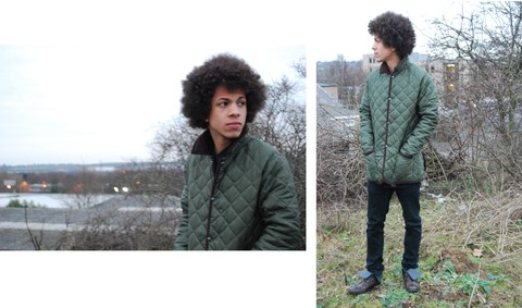 Omar Bolton - I Got It From My Momma Afro, Tk Maxx Boots, Wardrobe Barbour Style Liddesdale Jacket - Stranger to my own town