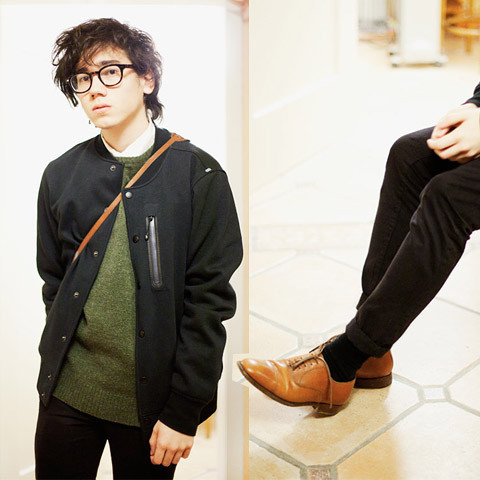 Pascal Grob - Moscot Glasses, Chronicles Of Never White Shirt, Nike Varsity Jacket, Wood Wool Sweater, Topman Chinos, Vintage Oxford Shoes - 5371086577