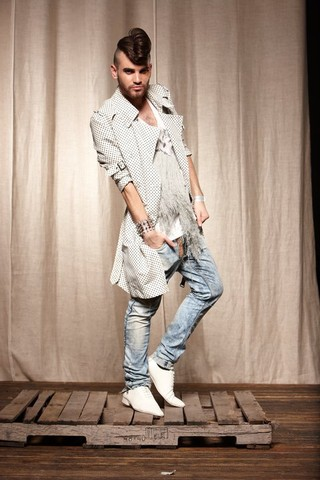 Dimitrios Pispilis - Tom Rebl Polkadot Trench Coat, Tom Rebl Stone Washed Slim Fit Jeans, Tom Rebl Fringe Tshirt, Dsquared Handcuff With Spikes - Rebl Around