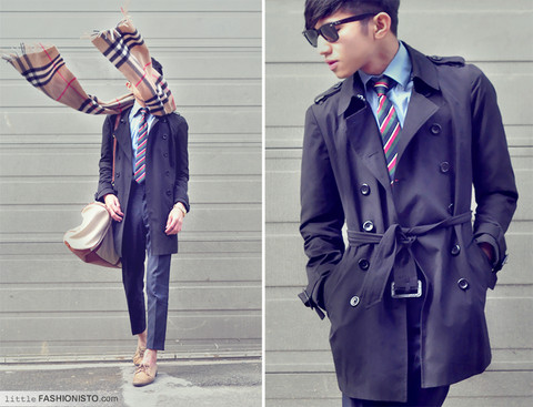 Mc kenneth Licon - Costumized Self Altered Trench Coat, Ray Ban Classic Wayfarrer, Burberry Cashmere Scarf, Zara Cream Blue Shirt, Custom Made Self Altered Pants, Zara Nude Oxford, H&M Duffel With Leather Pipping - Elevated Burberry