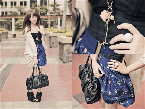 Tricia Gosingtian - Asian Vogue Tassel Wedges, Topshop Corset Top, Forever 21 High Waisted Floral Skirt, M)Phosis Bag, Forever 21 Ring, Singapore Necklace, Topshop Cardigan - 012811