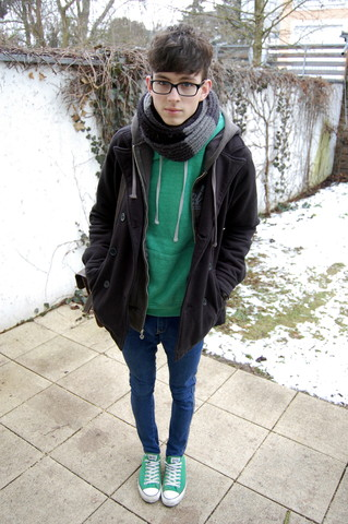 Harrison M. - Converse Lowtop Green, H&M Best Scarf In The World, Bright Green Hoodie, Old Grey Hoodie, Pacsun Simple Black Button Coat, The Skinny Jean - Little Thoughts.