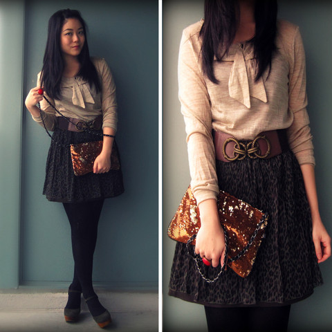 Kristania Petra - Mango Sweater, Mango Sequined Clutch, Urban Outfitters Belt, Uniqlo Leopard Skirt, Jeffrey Campbell Suede Wedges - Let There Be Sparks