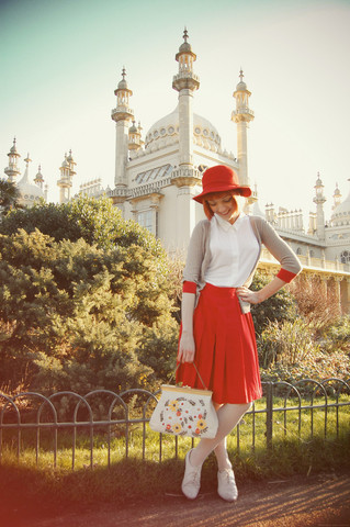 Kerry Lockwood - Topshop White Folk Brogues, Brick Lane Vintage Red Felt Hat, Topshop White Jersey Blouse, Ebay Taupe & Red Cardigan, Rokit Vintage Red Box Pleat Skirt, My Boyfriend! Vintage 50's Floral Bag, Urban Outfitters Nude Stockings - A Lady of Leisure...